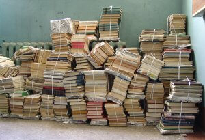 stack of books tied