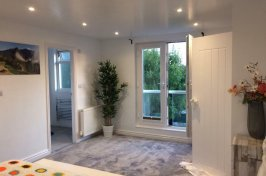 Modern bedroom conversion with plant in the corner and bathroom