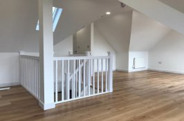Office conversion with oak laminate flooring