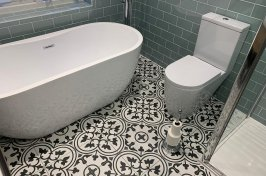 Mosaic flooring in bathroom conversion