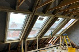 Velux windows loft conversion during construction