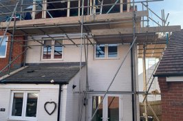 Constructing dormer conversion with scaffolding